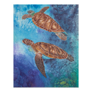 Sea Turtles Watercolor Poster