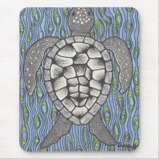 Sea Tutle On Blue Mouse Pad