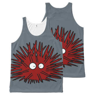 Sea Urchin Uni Spiny Red Hedgehog Ocean All-Over Print Singlet