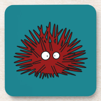 Sea Urchin Uni Spiny Red Hedgehog Ocean Coaster