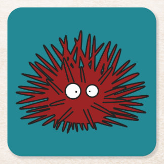 Sea Urchin Uni Spiny Red Hedgehog Ocean Square Paper Coaster
