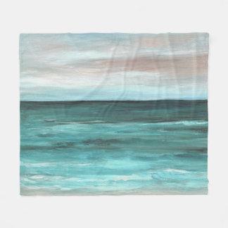 Sea View 265 aqua ocean Fleece Blanket