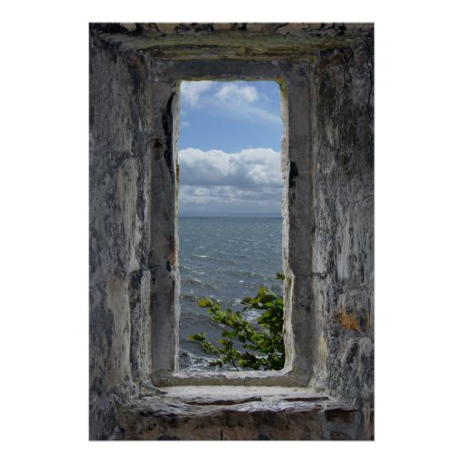 Sea View from a Castle Window Posters