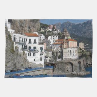 Sea view of village Atrani Tea Towel