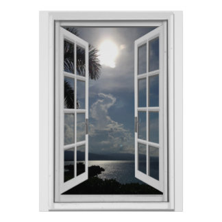 Sea View Trompe l'oeil Fake Window Poster