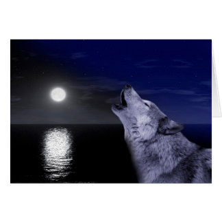 Sea wolf - moon wolf - full moon - wild wolf card