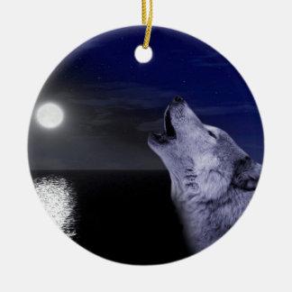 Sea wolf - moon wolf - full moon - wild wolf ceramic ornament
