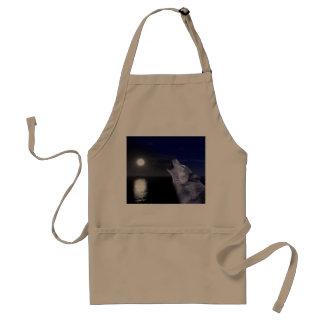 Sea wolf - moon wolf - full moon - wild wolf standard apron