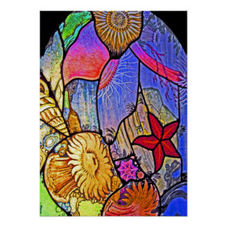 Seabed / Ocean Floor on Stained Glass Poster