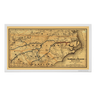 Seaboard & Raleigh Railroad Map 1874 Poster