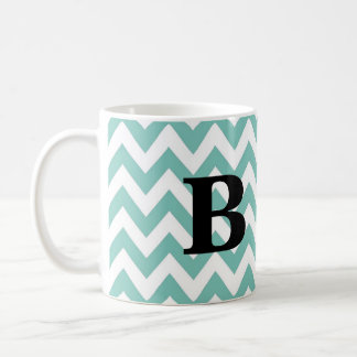 Seafoam and Black Chevron Monogram Mug