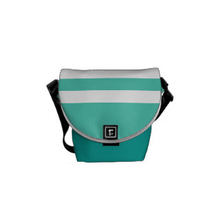 Seafoam and White Stripes Messenger Bags