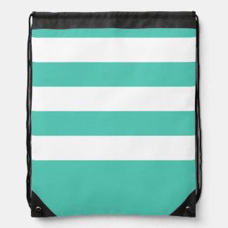 Seafoam and White Stripes Cinch Bags