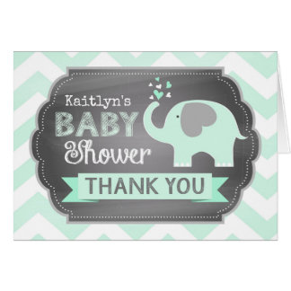 Seafoam Elephant Chevron Print Thank You Card