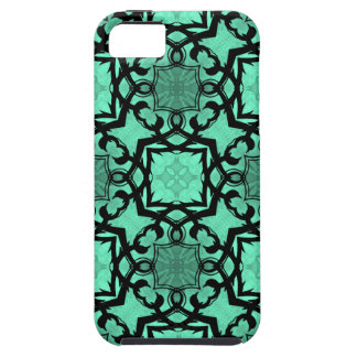 Seafoam green and black geometric kaleidoscope iPhone 5 covers