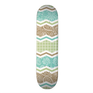 Seafoam Green and Light Brown Country Patterns Skate Board