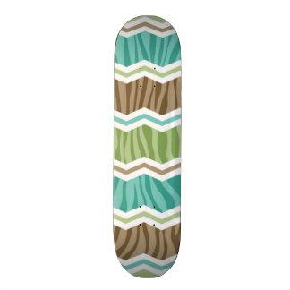 Seafoam Green and Light Brown Zebra Stripes Skateboard Decks