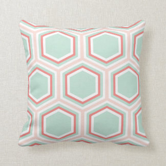 Seafoam Green and Orange Hexagon Pattern Cushion