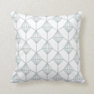 Seafoam Green and White Diamond Pattern Cushion