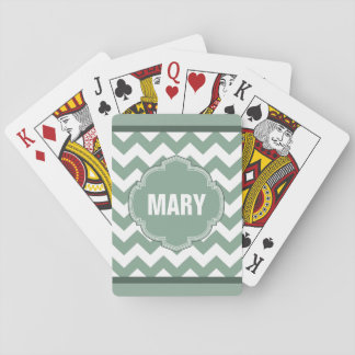 Seafoam Green Chevron Stripe Monogram Card Deck Playing Cards