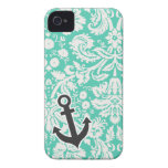 Seafoam Green Damask; Anchor Case-Mate iPhone 4 Cases
