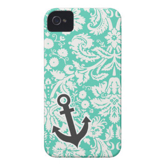 Seafoam Green Damask; Anchor iPhone 4 Case