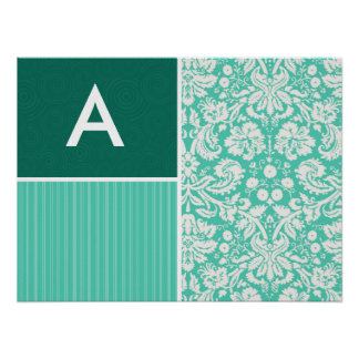 Seafoam Green Damask Pattern Print