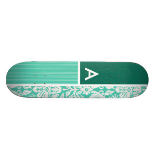Seafoam Green Damask Pattern Skate Board Deck