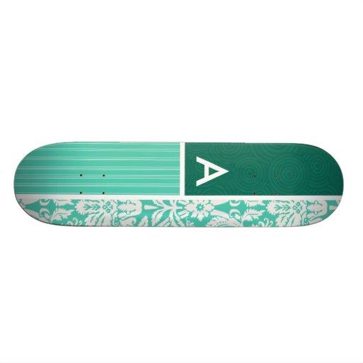 Seafoam Green Damask Pattern Skate Board Deck