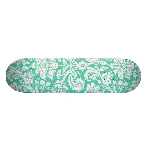 Seafoam Green Damask Custom Skateboard