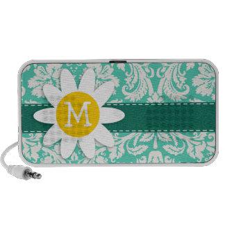 Seafoam Green Damask; Spring Daisy Laptop Speaker