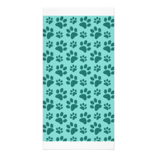 seafoam green dog paw print pattern personalised photo card