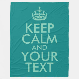 Seafoam Green Keep Calm and Your Text Fleece Blanket