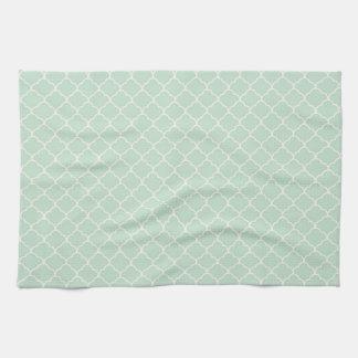 Seafoam Green Moroccan Quatrefoil Pattern Tea Towel