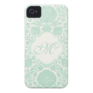 Seafoam Green Retro Floral Damask with Monogram iPhone 4 Covers