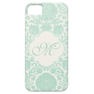 Seafoam Green Retro Floral Damask with Monogram iPhone 5 Case
