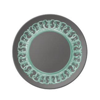 Seafoam green scrollwork plate