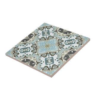 Seafoam Green Teal Turquoise Bali Batik Pattern Ceramic Tile