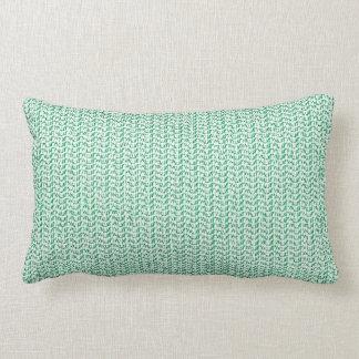 Seafoam Green Weave Mesh Look Lumbar Pillow