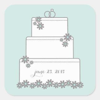 Seafoam Green Wedding Cake Favor Stickers