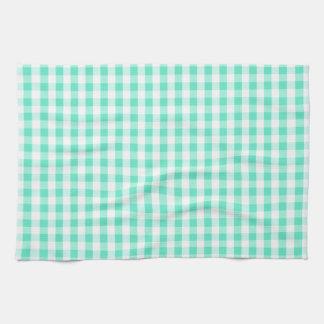 Seafoam Green & White Gingham Pattern Tea Towel