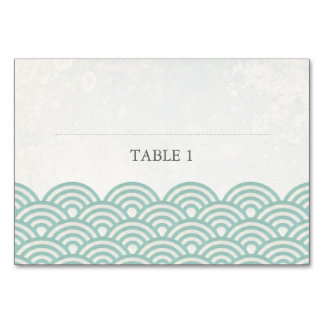 Seafoam Green+White Stylized Waves Place Name Card