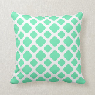 Seafoam Mint Green Quatrefoil Pattern Throw Pillow