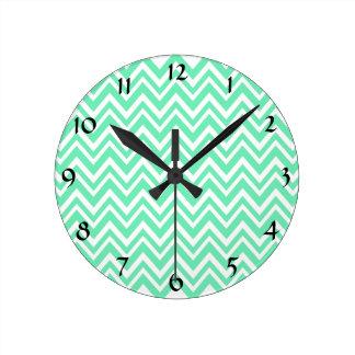 Seafoam Mint Green Zigzgag Pattern Round Clock