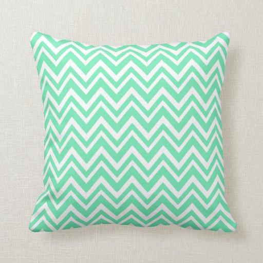 Throw Pillows In Mint Green : Seafoam Mint Green Zigzgag Pattern Throw Pillows Zazzle