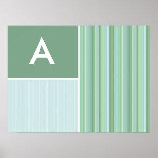 Seafoam, Sage Green, & Baby Blue Stripes Poster
