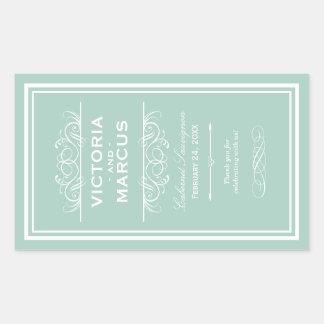 Seafoam Wedding Wine Bottle Monogram Favor Labels Rectangular Sticker