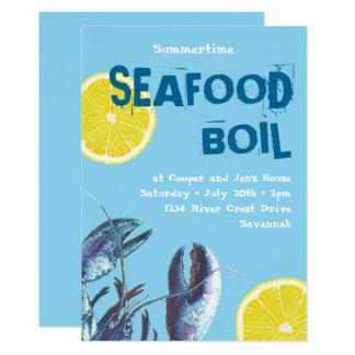 Seafood Boil Blue Lobster and Lemon Card