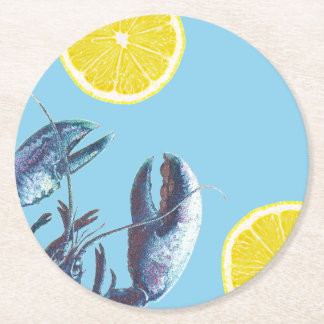 Seafood Boil Blue Lobster and Lemon Round Paper Coaster