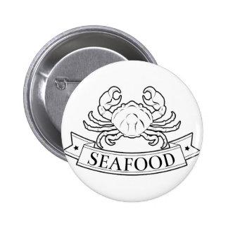 Seafood label pinback button